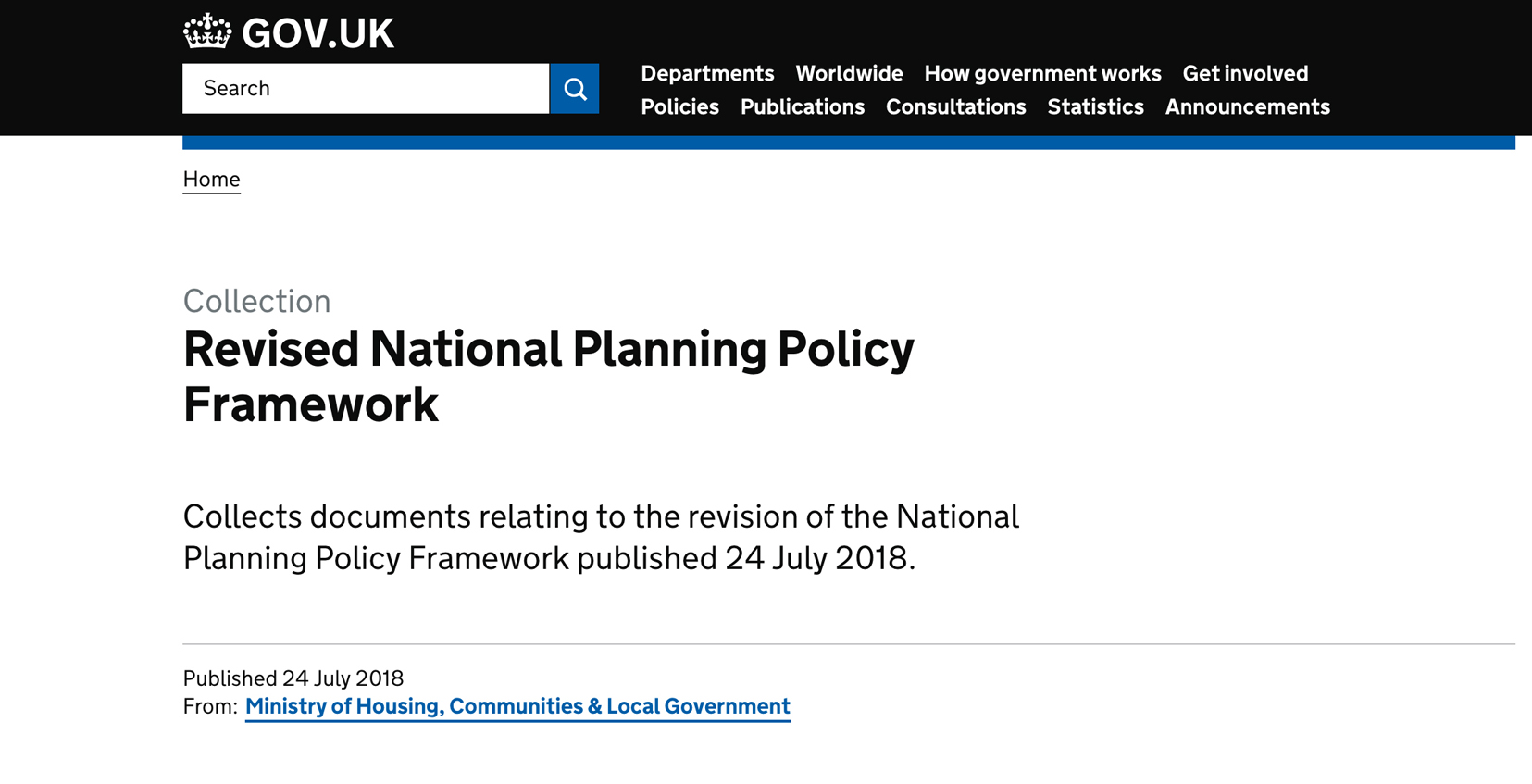2018 National Planning Policy Framework